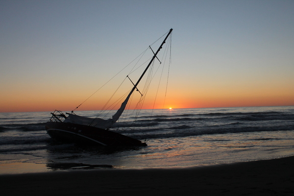 Beached yacht at New Brighton beach