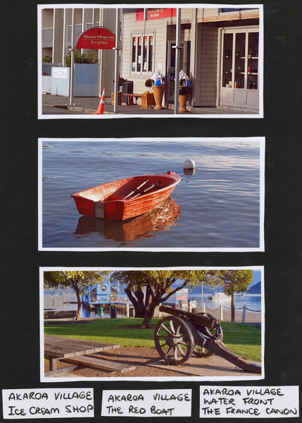 3 photos of Akaroa village, Ice crea shop, red boat, Fance cannon