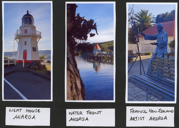 3 photos of Akaroa village,  Lighthouse, Pier, Artist