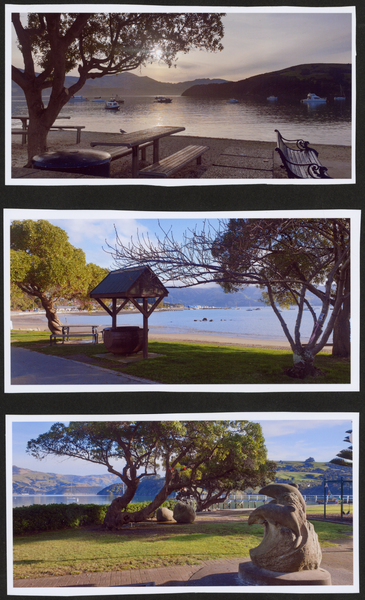 3 photos of Akaroa village, Akaroa harbour, Water front, Dolphin Statue
