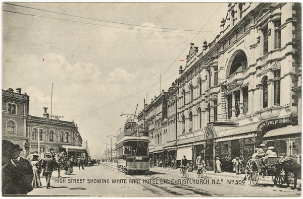 High Street showing White Hart Hotel etc. Christchurch. N.Z.