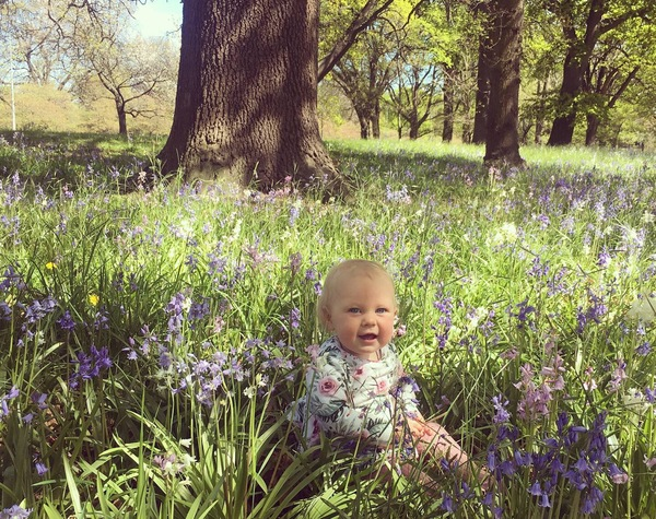 Olivia enjoying the bluebell forest.