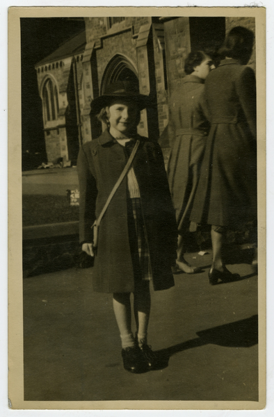 Wendy in Cathedral Square, circa 1952