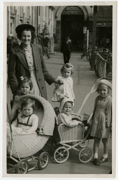 Doris Goulding from Hornby with her two children and three nieces outside the Regent Café in Cathedral Square