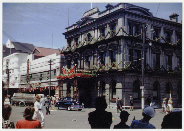 Outside the Clarendon Hotel at the time of the Royal Visit