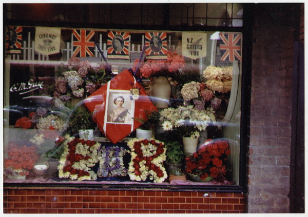 Floral display in a shop window for the Royal Visit