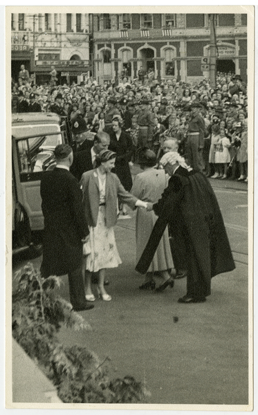 Mr H. S. Feast, Town Clerk, being presented to the Queen.