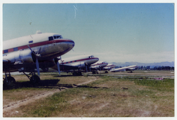 Retired Douglas Dakotas (DC3's) at Christchurch Airport. 1983
