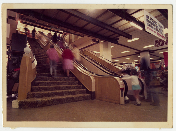 Escalator in Millers Building, late 1970s