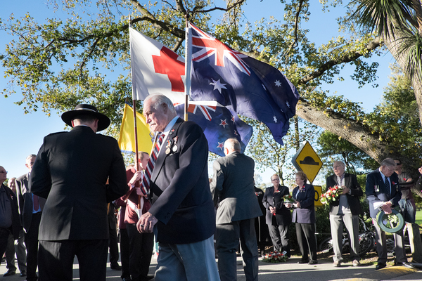 Veterans assembling for the Anzac Day Parade