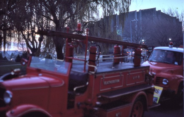 Antique Fire trucks outside Christchurch Town Hall