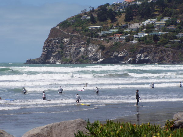 Surfers at Sumner Beach