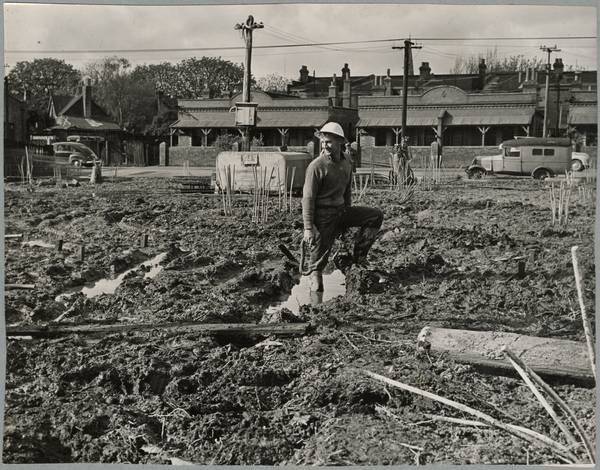A worker on the site of the Christchurch Star office