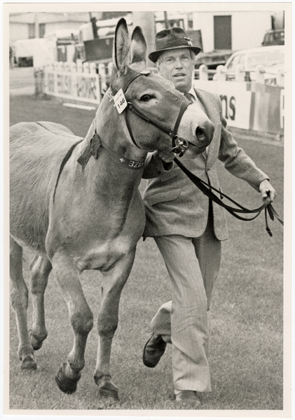 Ian Cameron with Peppercorn the donkey