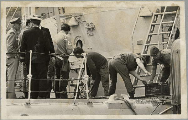 Unloading explosives at Lyttelton