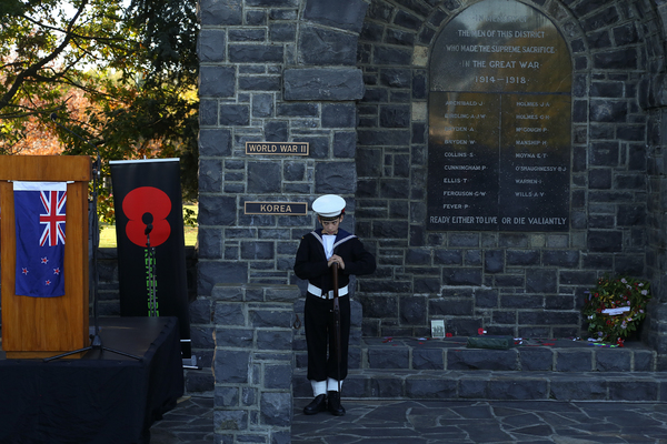 Cadet at Anzac Day memorial service