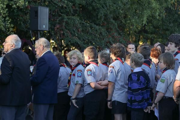 Scouts at Anzac Day memorial service