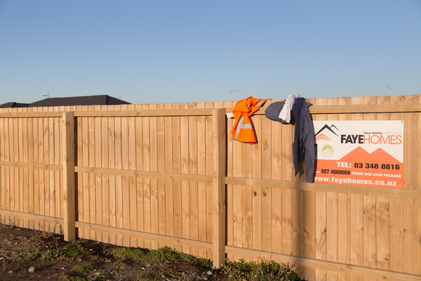 Fence with sign for FayeHomes, Wigram Skies