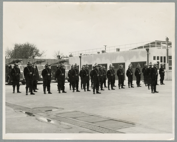 Inspection parade at fire station opening
