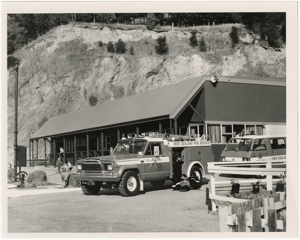 Fire station and vehicles at Akaroa