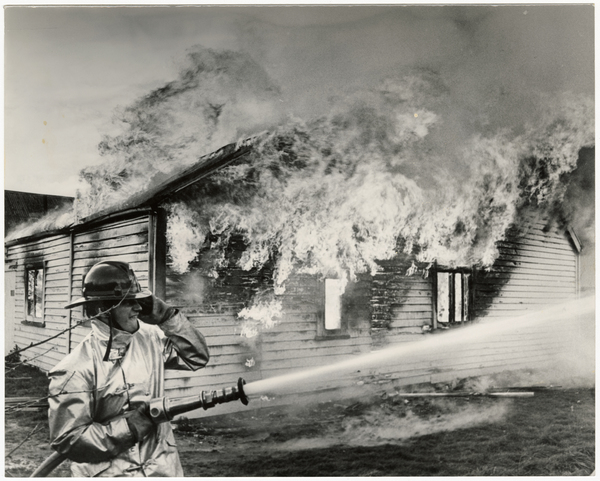 Firefighter, Lionel Gage, at a controlled burn