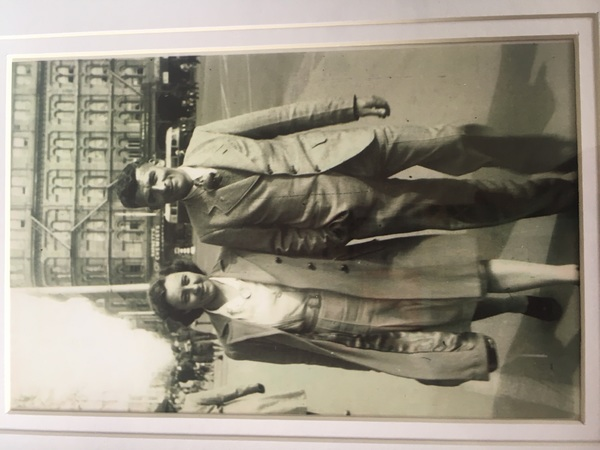 My grandparents walking through Christchurch city, 1940s