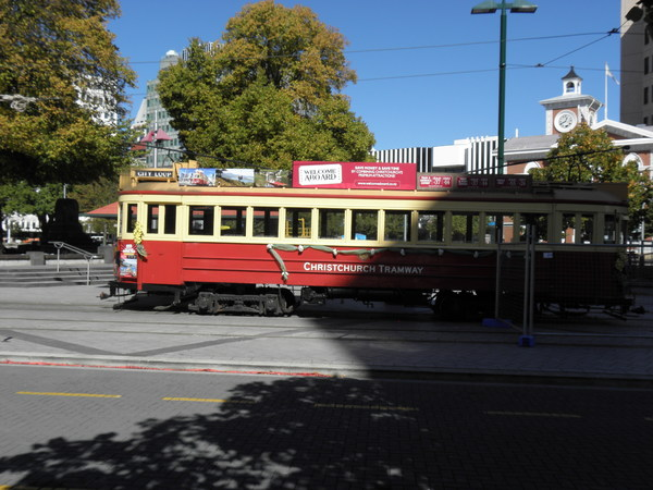 Tram car in Cathedral Square at the time of the earthquake.