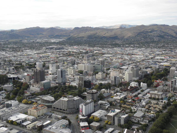 CBD view over the city towards the Port Hills.