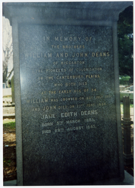 Headstone of Deans family, Anglican Cemetery