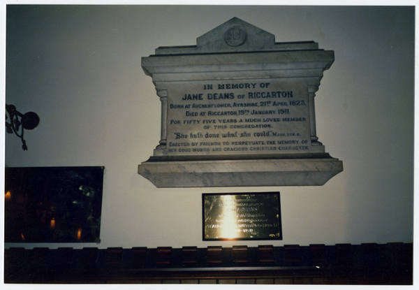 Jane Deans memorial, St Andrews  Church, Merivale