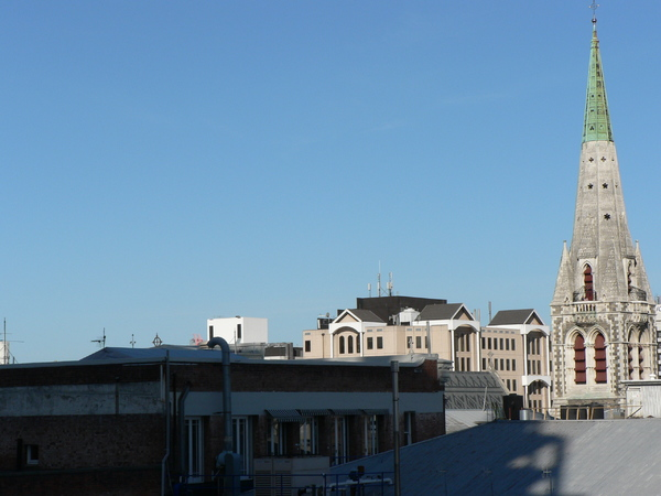 Cathedral spire and rooftops