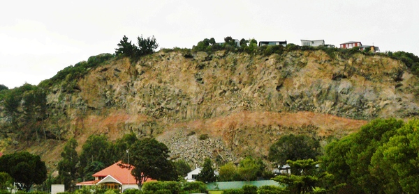 Collapsed cliff behind Redcliffs School