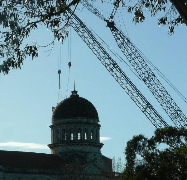 Cathedral of the Blessed Sacrament with cranes
