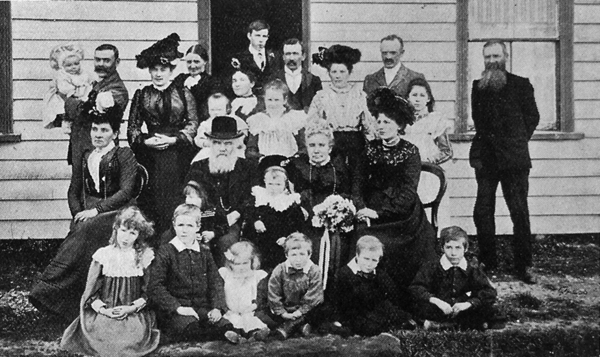 Mr and Mrs Bray with children, grandchildren and friends