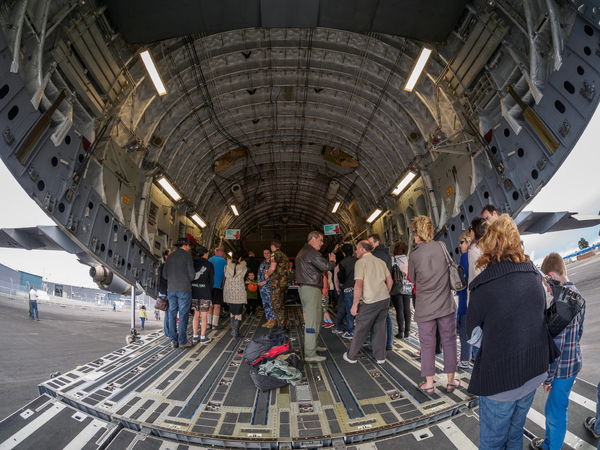 Entering the belly of the C-17 Globemaster III