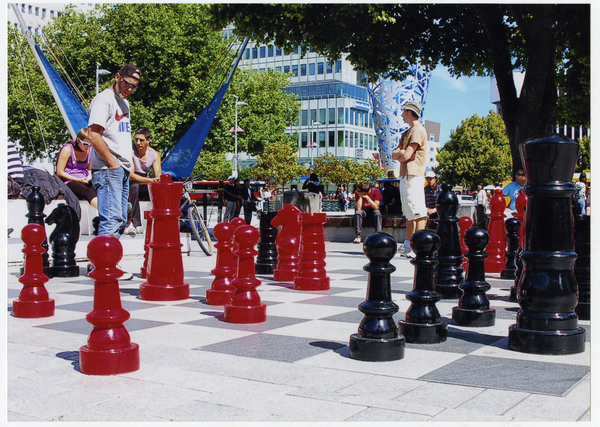 The giant chess set in Cathedral Square
