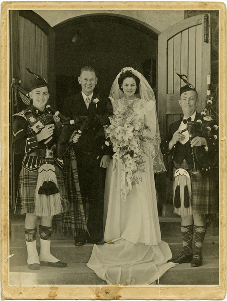 Len & Sally Cross on their wedding day