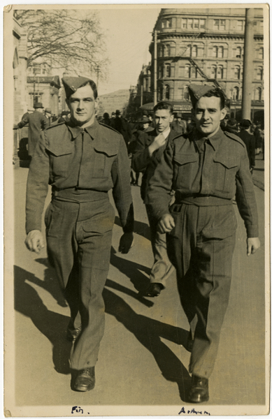 Fin and Arthur in uniform, Cathedral Square
