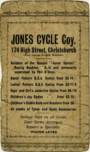 Advertisement for Jones Cycle Company, 174 High St., Christchurch.