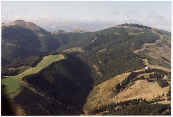 Aerial view looking towards the Port Hills