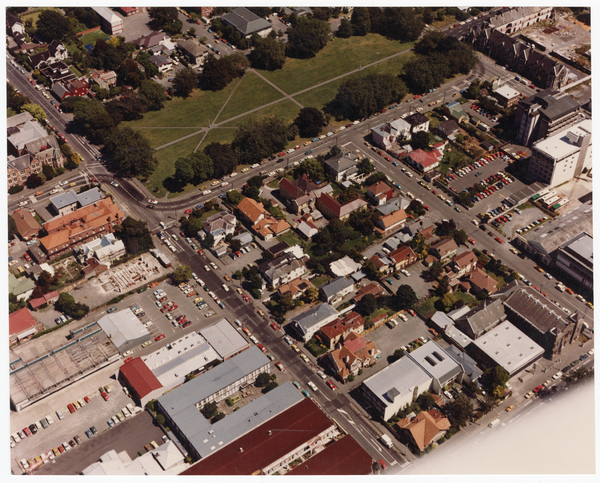 Aerial view looking west over Cranmer Square