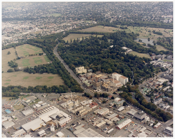 Aerial view looking west to Hagley Park