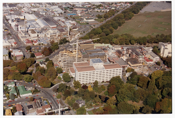 Christchurch Hospital during construction