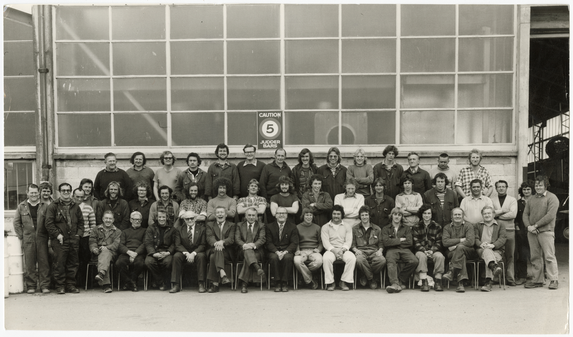 Staff group photograph of Line workers at the Municipal Electricity Department in 1970.