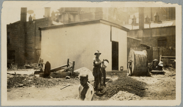 Digging a trench at the Clarendon Hotel substation