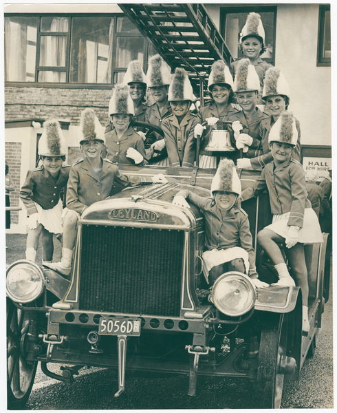 Marching girls and 1922 Leyland fire engine