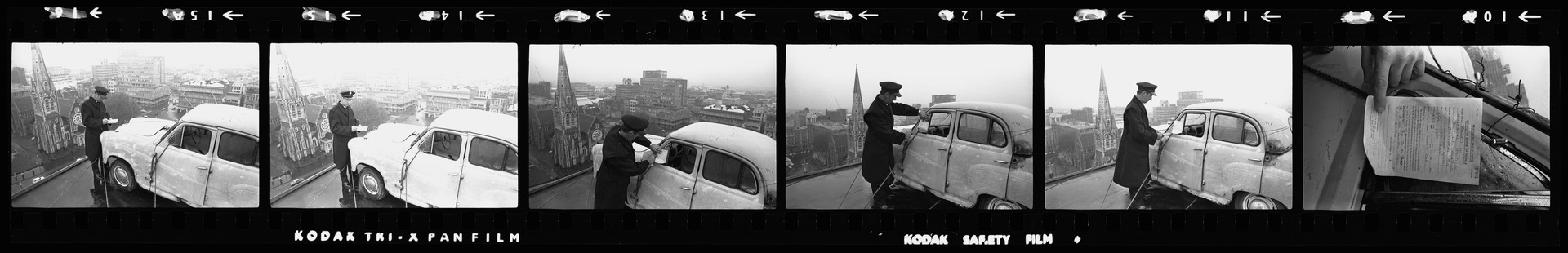 Negative strip from the Christchurch Star Archive showing Student capping prank