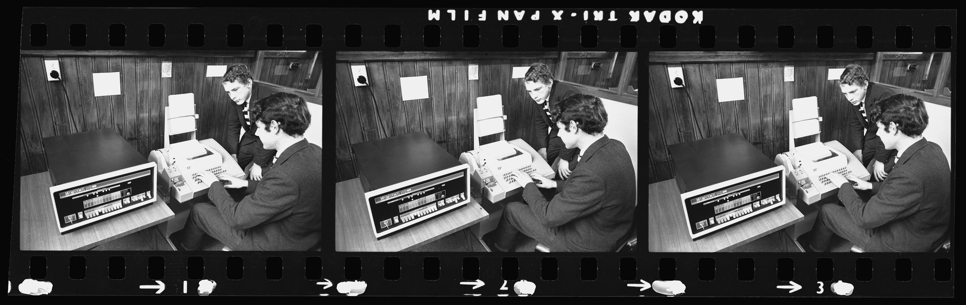Negative strip from the Christchurch Star Archive showing Christ College students and a PDP8 Model E computer