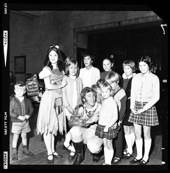 Negative strip from the Christchurch Star Archive showing Snow White and the Prince with children