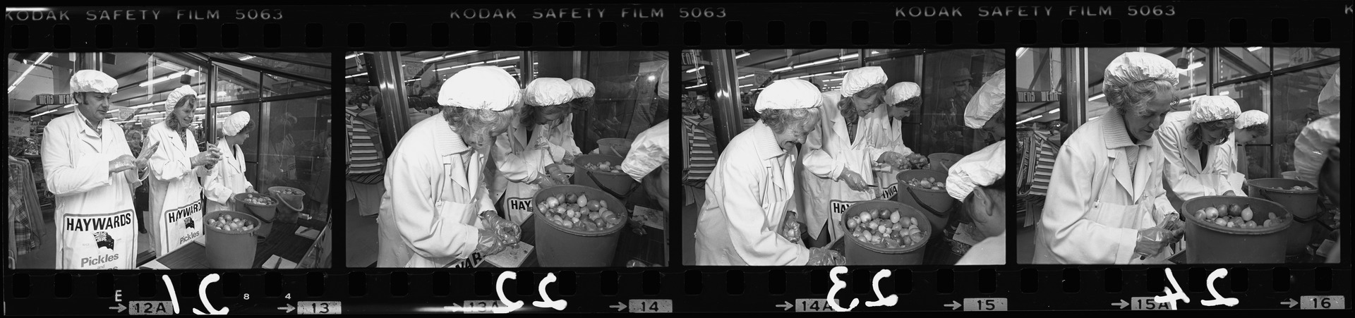 Negative strip from the Christchurch Star Archive showing Onionathon at Farmers-Haywrights carpark, Riccarton